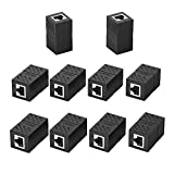 UGREEN RJ45 Coupler 10 Pack in Line Coupler Cat7 Cat6 Cat5e Ethernet Cable Extender Adapter Female to Female (Black)