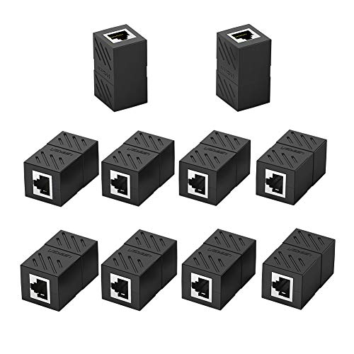UGREEN Adaptador RJ45 Hembra a Hembra, Conector RJ45 Hembra a Hembra Acoplador RJ45 para Gigabit Ethernet 1000Mbps Cable de Red Cat 7 Cat 6 Cat 5, 10 Unidades (Negro)