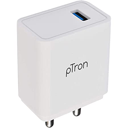 pTron Volta Plus 17W USB Smart Charger, Made in India, BIS Certified, Fast Charging Power Adaptor Without Cable for All iOS & Android Devices - (White)