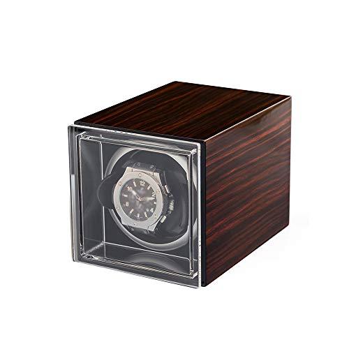 Jlxl Caja Enrollador Reloj Individual, Exterior Pintura Piano Concha Madera, 4 Configuración...