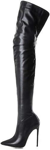 TYX-TT Longues Bottes Femme, Talon Haut De Grande Taille Fin   Cuir Verni, Stretch sur Les Bottes Au Genou