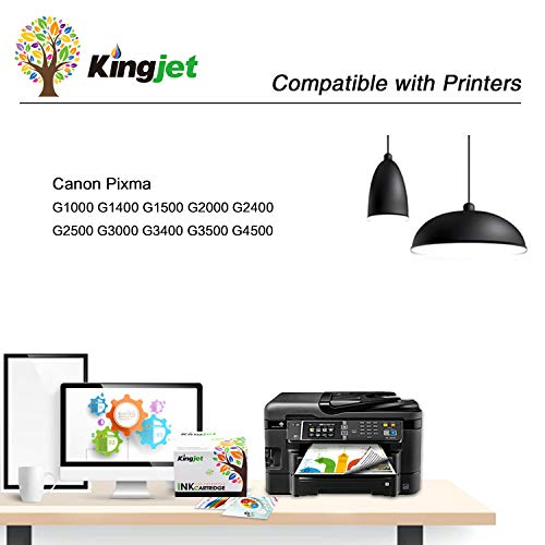 Kingjet GI590 Cartuchos de Tinta para Reemplazo para Canon Pixma G1400 G1500 G1510 G2400 G2500 G2510 G3400 G3500 G3510 G4500 G4510 (2 Negro,1 Cian, 1 Magenta, 1 Amarillo)