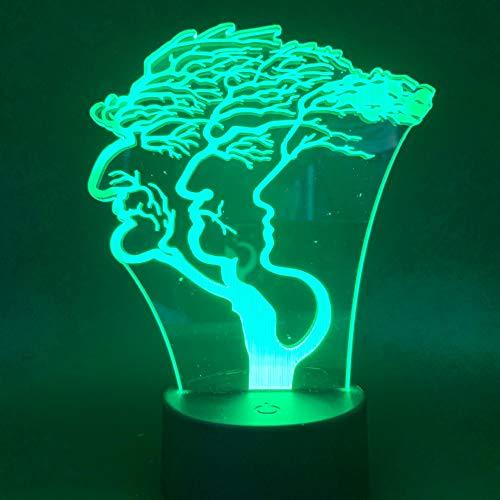 sanzangtang LED Night Light 3D-Vision-Seven Colors-Remote Control-Illusion Art Tree Face Night Light Control Remoto