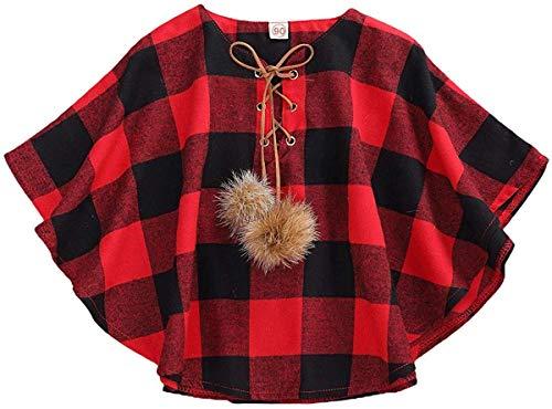 Carolilly Chaleco de entretiempo para niños, niñas, chaqueta de primavera, chaleco para niñas, capa de cuadros, chaqueta para niñas Capa de color rojo y negro. 2-3 Años