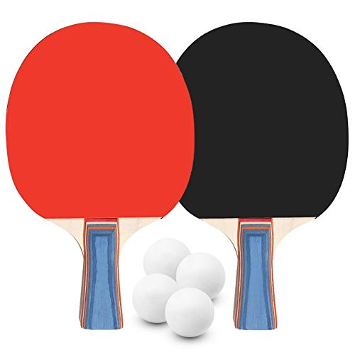 LHAA Ping Pong Paddle Set, Mesa de ping pong 2 Set 2 jugador de tenis de mesa murciélagos raquetas con 4 bolas de ping-pong for la Escuela Hogar interiores o exteriores de Juego para jugar al tenis de
