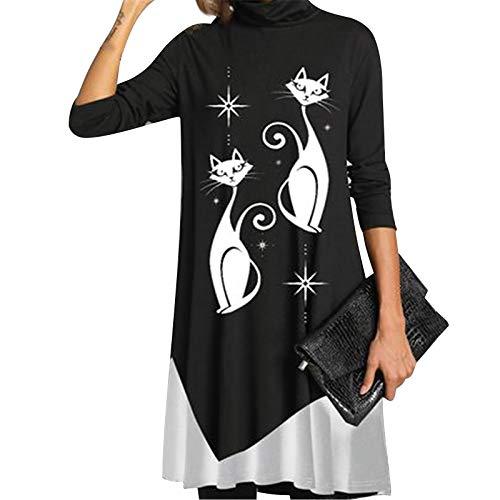 Dasongff Winterkleider Damen Kleider Langarm Lockere T-Shirt-Kleid Farbverlauf Stehkragen Minikleid Pullover Kleid Lang Freizeit Knielang Kleider Bunter Blusenkleid Etuikleid Tunika Tops