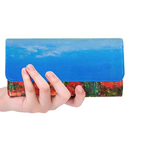 JOCHUAN Einzigartige benutzerdefinierte Acryl Landschaft blauen Himmel rote Mohnblumen Stock Illustration Frauen Trifold Wallet lange Geldbörse Kreditkarteninhaber Fall Handtasche