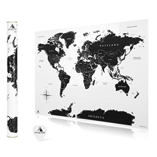 Asquare Hochwertige Rubbel Weltkarte 84x58cm - XXL Poster zum Freirubbeln, mit Rubbelchip - Rubbelkarte Welt schwarz, weiß - Scratch Off Map Deutsch