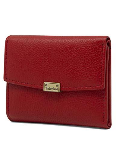 Timberland - Cartera de piel RFID para mujer, Rojo, Talla unica