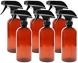 16oz Amber PLASTIC Spray Bottles w/ Heavy Duty Mist & Stream Sprayers & Chalkboard Labels (6-pack); PET #1 Plastic Bottles, BPA-free, Use for DIY Cleaning, Kitchen, Hair Etc