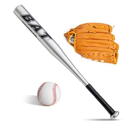 Baseball-Ball-Set, Baseballschläger + Baseballschläger + Baseballschläger + Baseballhandschuh, Aluminium, 63,5 cm, Sicherheit, Baseballschläger und Ball-Set, Selbstverteidigung