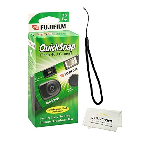 Fujifilm QuickSnap Flash 400 Disposable 35mm Camera + Quality Photo Microfiber Cloth (3 Pack)