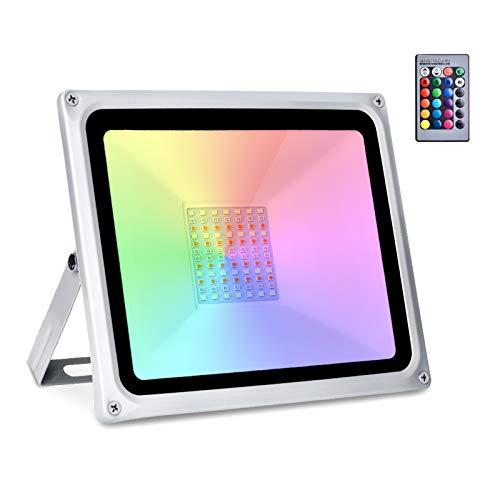 Sararoom Faretto LED da Esterno, 16 colori 4 modalità LED Proiettore RGB 50W Funzione di Memeria Faro per Decorazione di Natale impermeabile con TP65, Halloween, Giardino