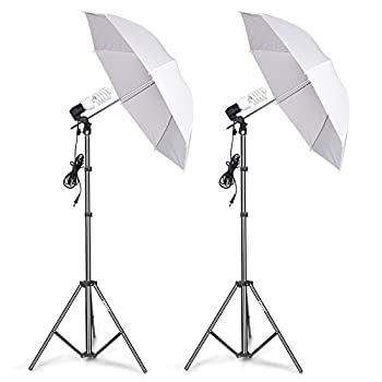EMART Photography Umbrella Lighting Kit 400W 5500K Photo Portrait Continuous Reflector Lights for Camera Video Studio Shooting Daylight