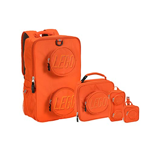 LEGO Kids Brick Backpack, Lunch, Mini Backpack & Pouch 4 Piece Set-Orange, One Size