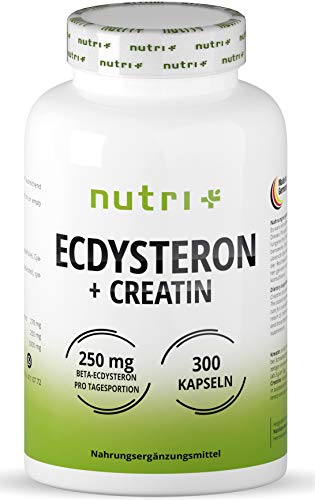 Ecdysterone creatine Capsules high dose + Vegan - 250mg beta Ecdysterone (95% Cyanotis Arachnoideae Extract (Better Than Spinach)) + 3000mg creatine per Day dose - 300 Capsules