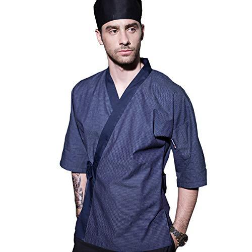Men's Japanese Blue Stripe Chef-Coat 3/4 Sleeve Kimono Restaurant Chef Jacket