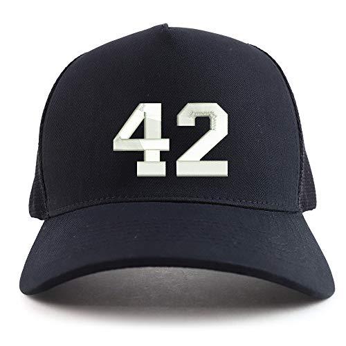 Trendy Apparel Shop Number 42 Collegiate Varsity Font Embroidered Oversized 5 Panel XXL Trucker Mesh Cap - Black