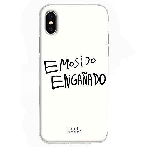 Funnytech Funda Silicona para iPhone X [Gel Silicona Flexible, Diseño Exclusivo] Frase Meme EMOSIDO ENGAÑADO Humor Fondo Blanco