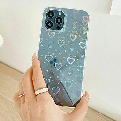 Love Heart Laser Clear Soft para iPhone Case, Caja del teléfono del corazón del amor transparente con láser, cubierta a prueba de golpes con láser degradado brillante para iPhone 13 12 Pro Max