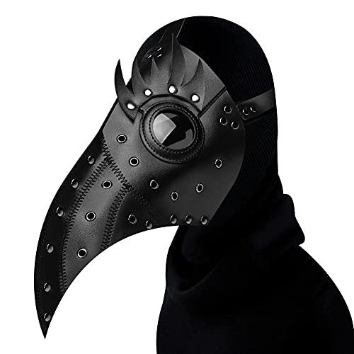 XJST Plague Dr Mask, Cosplay Plague Doctor Mask Pelle Lungo Nose Bird Beak Beak, Masquerade Mask novità Costume Party for Men Donne