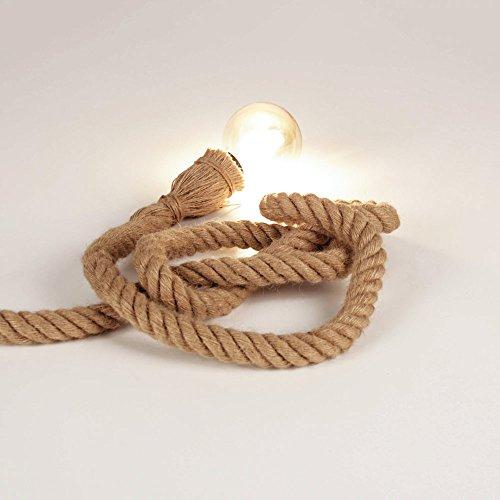 s.LUCE Seil-Tischleuchte Rope mit Fassung 200 cm Braun Seil-Tischlampe Tischleuchte