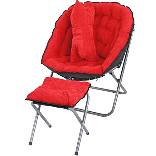 ZAQI Bodenstuhl meditationsstuhl Bequemer Stuhl Lazy Boy Recliner Mit Fußstütze, Weich Gepolsterter Club Chair, Metall, 100kg (Color : Red)