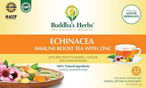 Buddha's Herbs Premium Organic Echinacea, Turmeric, Ginger & Lemongrass Tea with Zinc (2 Pack) -44 Tea Bags