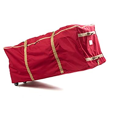 CoverMates – Holiday Rolling Tree Storage Bag – Fits up to 7.5 Foot Tree – 3 Year Warranty- Red