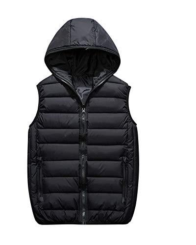 Homme Loisirs À Capuche sans Manches Doudoune Ultra Légère Veste Manteau Fermeture Eclair Gilet Noir XL