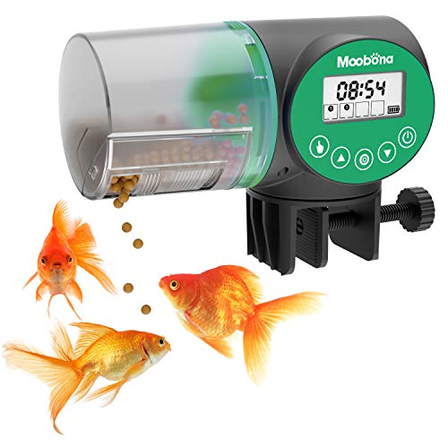 MOOBONA Fish Food Feeders Automatic Timer Dispenser with 1.3 Inch Widen Adjustable Clamp Base for Aquarium or Fish Tank, Auto Feeding on Holidays