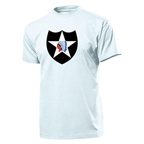 2 US-Infanteriedivision - 2nd-Inf-Division - Decal Military - T Shirt #9952, Größe:Herren L, Farbe:Weiß