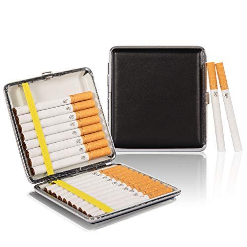 Zigarettenetui Metall Leder Schwarz - 20 Zigaretten 9x9x1,7 cm - Zigarettenbox für Drehzigaretten Filterzigaretten - Etui mit Gummiband und Schnappverschluss - Zigarettenzubehör Edel Elegant PU-Leder