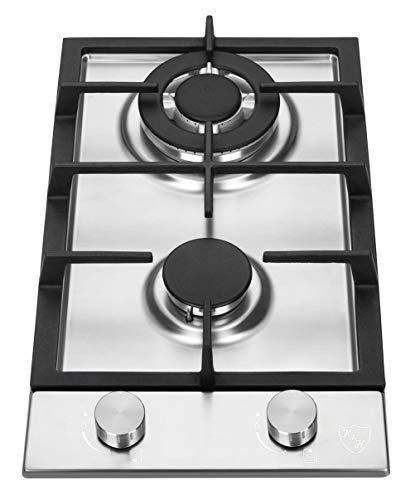 K&H Domino Piano cottura a Gas 2 Fornelli 30cm Acciaio inossidabile WOK 2Z-KHSSW