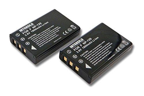 INTENSILO 2X Li-Ion Akku 1800mAh (3.6V) für Videokamera Camcorder Actioncam Praktica DVC 5.1 HD, DVC 5.4 HDMI, DVC 5.4 FHD wie NP-120, D-Li7, PX1657.