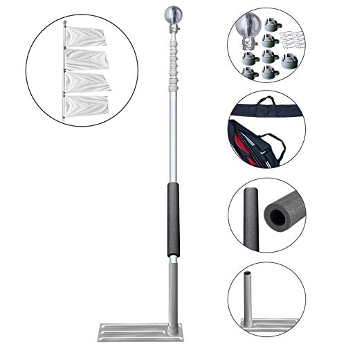Sports Flags Pennants Company Tailgate Telescoping 23 Feet Flagpole Wheel Base and Carrying Case