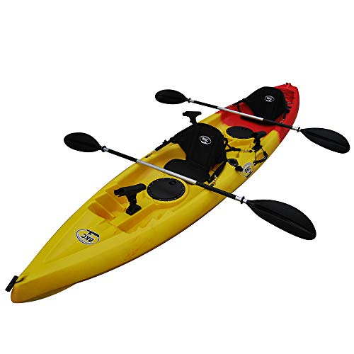 BKC TK181 Angler 12-Foot, 8 inch Tandem 2 or 3 Person Sit On Top Fishing Kayak w/Padded Seats and Paddles (Red Yellow)