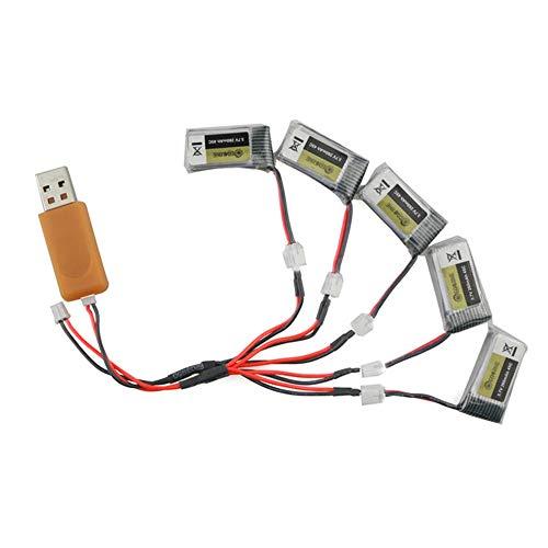 DorisAA Drone Flash LED de Colores claros USB 5PCS 3.7V 260mAh 45C Lipo Cargador de batería Conjunto Compatible con Eachine E010 E011 E010C E011C E013 JJRC H67 (Color : Natural, tamaño : Un tamaño)