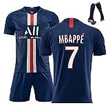 Uniforme de fútbol de Verano para Hombres, Camiseta de fútbol MBAPPE 7 Neymar JR10, Traje de Entrenamiento para fanáticos de la Temporada 20-21 para el hogar de París, con Calcetines-MBAPPE-M