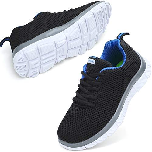 nerteo Boys Tennis Running Shoes Lightweight Breathable Sneakers Kids Black/Blue 6 M US Big Kid