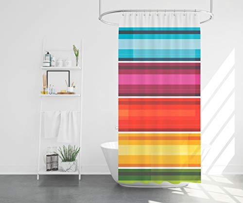 "Duschy Fabric Bathroom Shower Curtain , 72"" W x 72"" H Polyester Fabric Bath Curtain with Hooks Chromatic Modern Pattern Decorative Bathroom"
