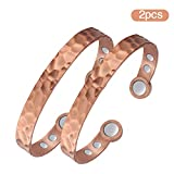 Jecanori 2PCS Copper Bracelet for Men Women for Arthritis Magnetic Therapy for Pain Relief & RSI & Carpal Tunnel~100% Copper Cuff Bangle with 3500 Gauss Magnet~Adjustable Health Healing Jewelry Gifts