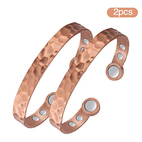 Jecanori Copper Bracelets for Women Men for Arthritis 2PCS Copper Magnetic Bracelet for Pain Relief with 6 Powerful Therapy Magnets Adjustable Arthritis Cuff Bangle Healthy Gifts