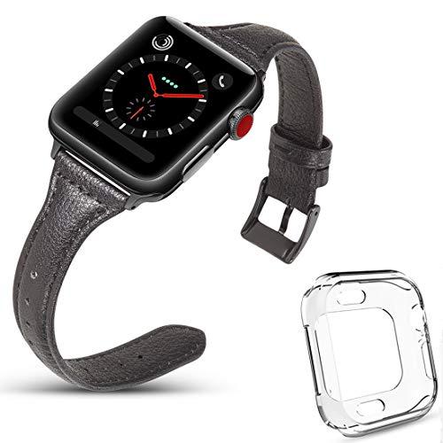 DaGeLon Compatibel met Apple Watch Lederen Band 40mm 44mm Series 5 Series 4, (met 1 Zachte TPU Silicone Case), Vrouwen Meisjes Elegante Band Polsband Vervangende Horlogeband voor iWatch Sport Edition Nike+