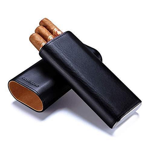 FYYONG Cave à cigares peut accueillir 3 Cigares Sac portable Voyage étui à cigarettes cigare cubain en cuir cave à cigares avec ble boîte-cadeau noire de cigare Ciseaux hommes for la offi Nouveau h ci