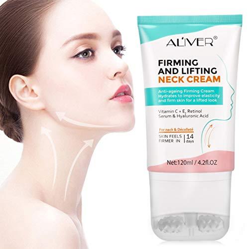 ALIVER Neck Cream,Anti Aging Moisturizer Neck Creams,Neck Firming Cream, Upgrade Dual Roller Massage Neck Cream 120ml