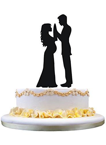 Topper de torta de boda, Topper de torta de novia y novio embarazada, Topper de torta de familia feliz, Regalo de boda para padres a ser