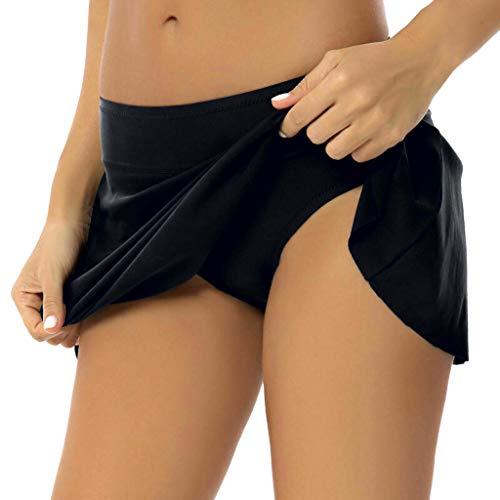 Falda Plisada Cintura Alta Mujer Nadar Troncos Shorts de Baño Grupo de natación bañador Playa Traje de baño Bikinis Bottoms Bragas riou