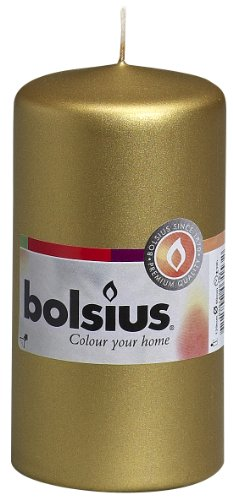 Bolsius Pillar Candle, Paraffin Wax, Gold