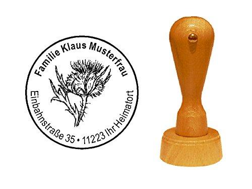 Stempel adressenstempel motiefstempel « krasDISTEL » diameter ca. Ø 40 mm - met persoonlijk adres en motief - plant Distel Flora Fauna